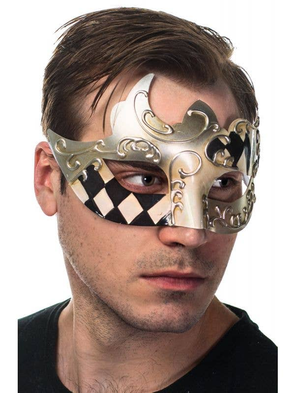 Men's Silver Black and Cream Harlequin Pattern Masquerade Mask View 1