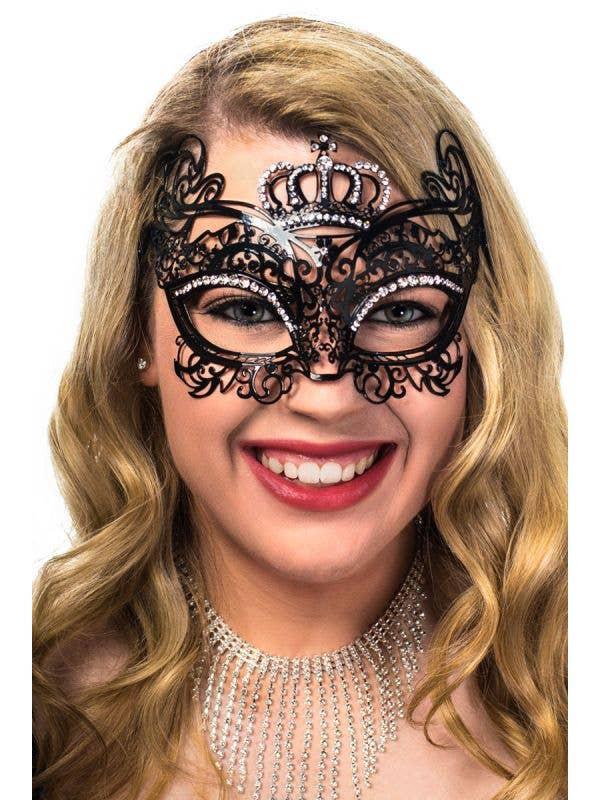 Deluxe Black Flexible Metal Crown Princess Masquerade Mask
