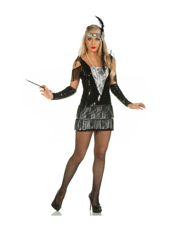 c5b4f8dc30e Teen Girl s Great Gatsby Black Flapper Dress Costume Front