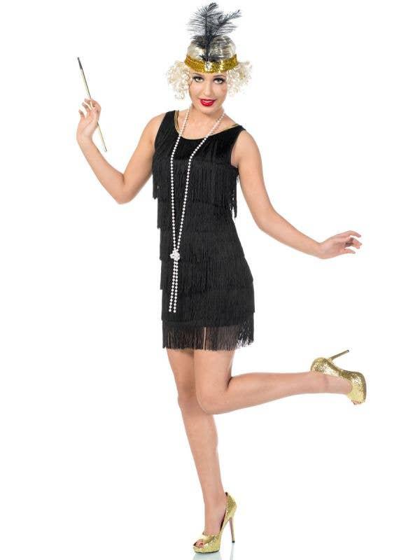 Women's Short Black 1920's Flapper Dress Front View