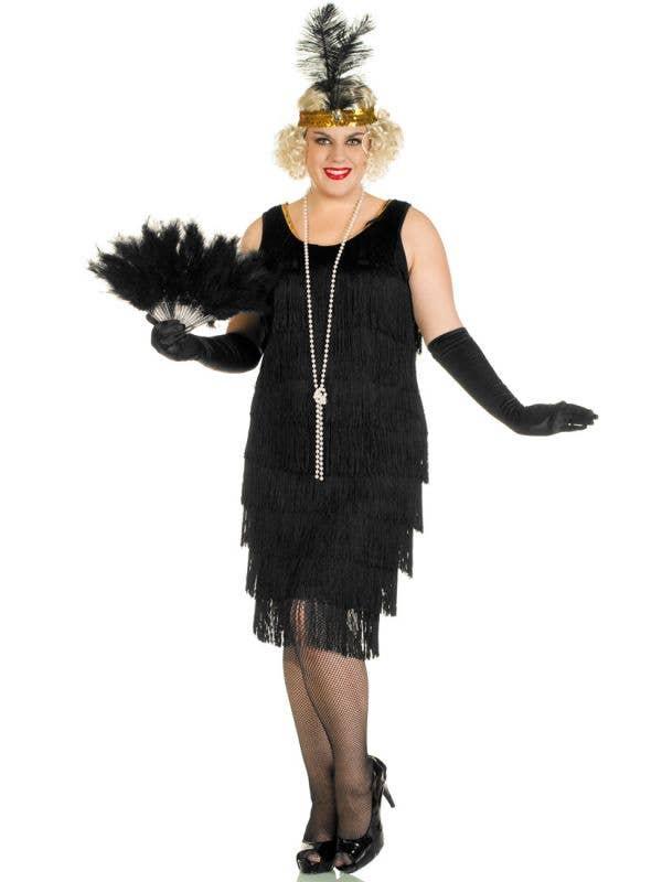 Plus Size Women's Long Black Flapper Costume Front View