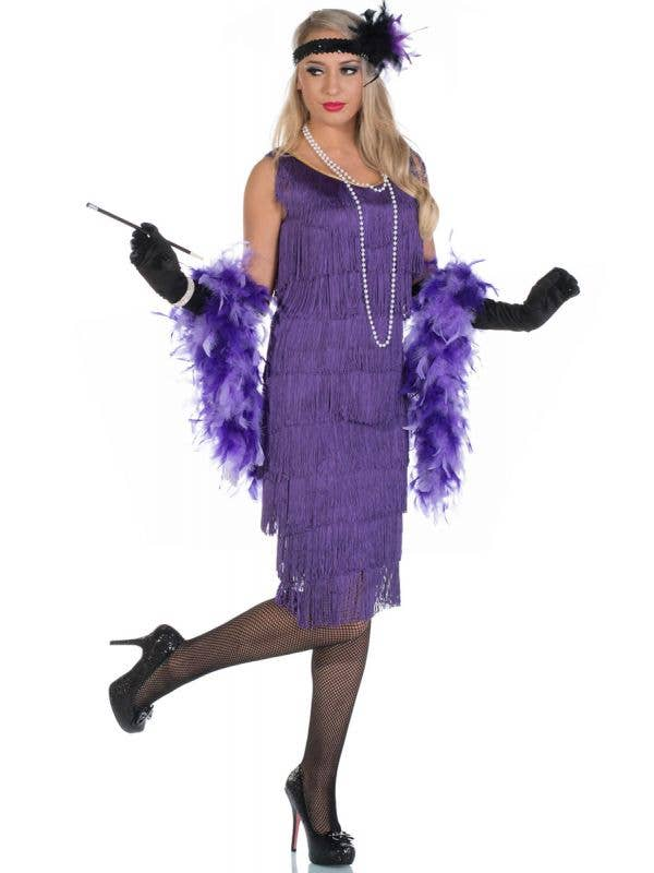 Women's Long 1920's Purple Flapper Dress Front View