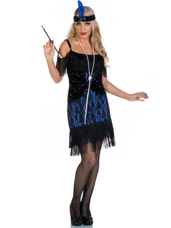 Miss Elsie Deluxe Black and Blue Roaring 20s Flapper Dress Costume - Front Image