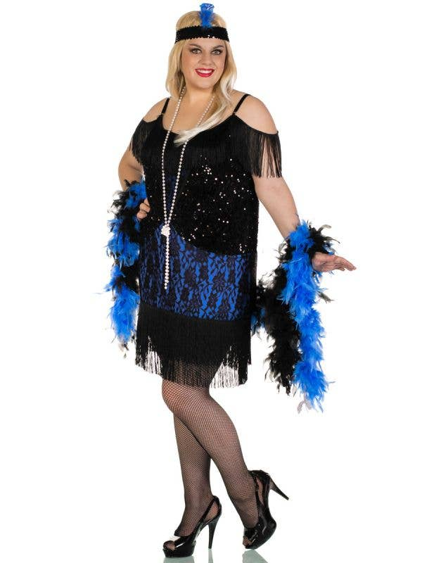 Miss Elsie Plus Size Deluxe Black and Blue Womens Flapper Gatsby Costume - Front Image