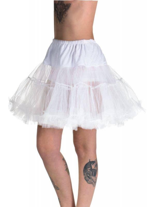 Women's Plus Size Fluffy White Thigh Length Costume Petticoat