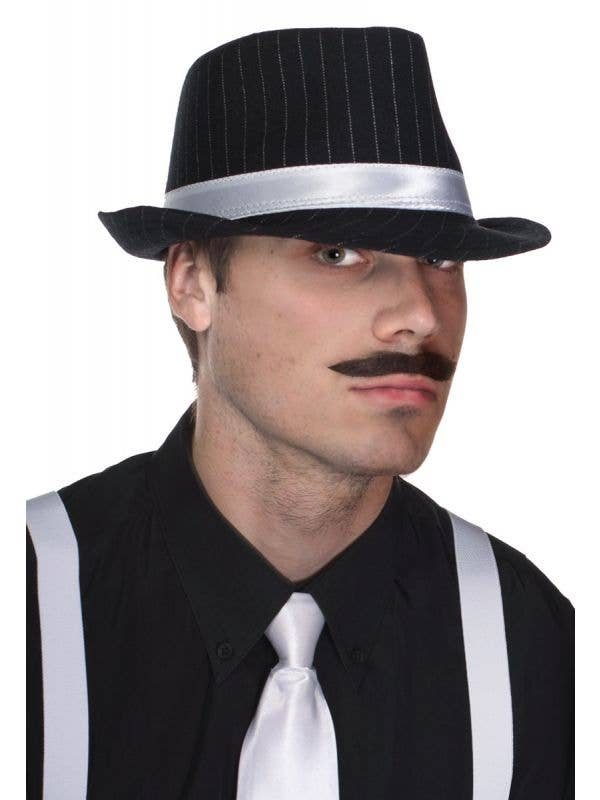 Men's Black and White Pinstripe Trilby Gangster Hat View 1