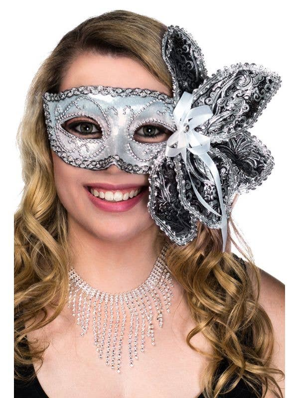 Deluxe Silver Foil and Brocade Masquerade Mask