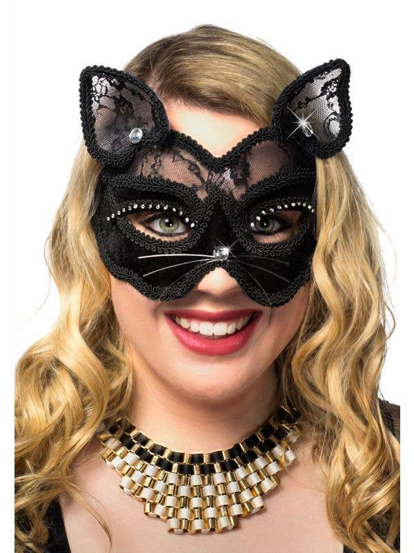 Black Velvet and Lace Deluxe Feline Cat Masquerade Mask View 2