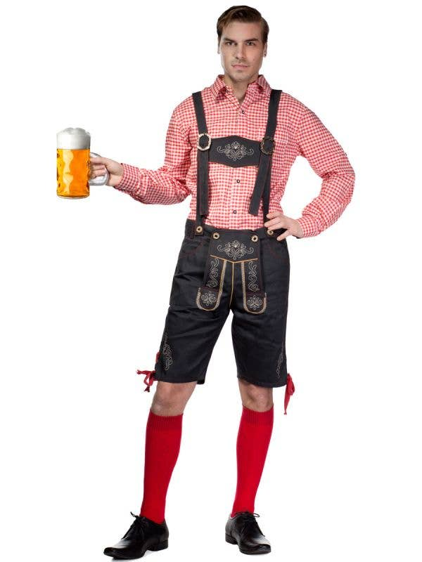 Men's Red and Grey Lederhosen Oktoberfest Costume Front View