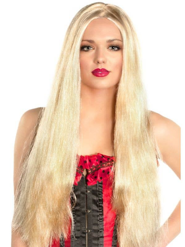 Womens Extra Long Sexy Costume Blonde Wig - Main Image