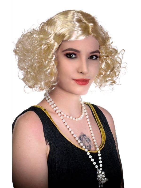 1920's & 30's Flapper Movie Star Platinum Blonde Costume Wig View 1