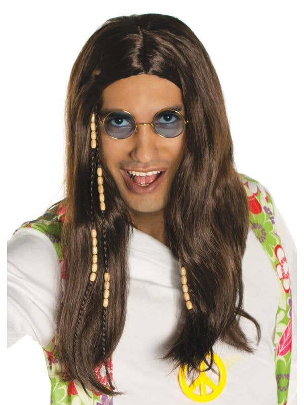 Mens Long Brown Hippie Costume Wig with Beads - Main Image