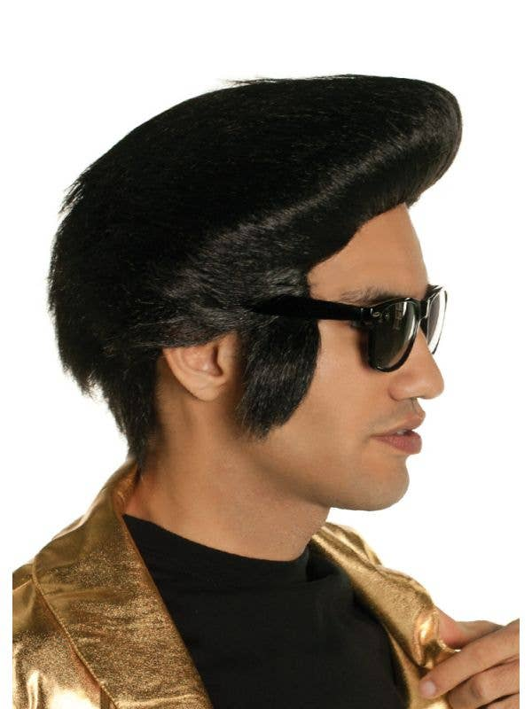 Mens King of Rock Black Pompadour Costume Wig - Main Image
