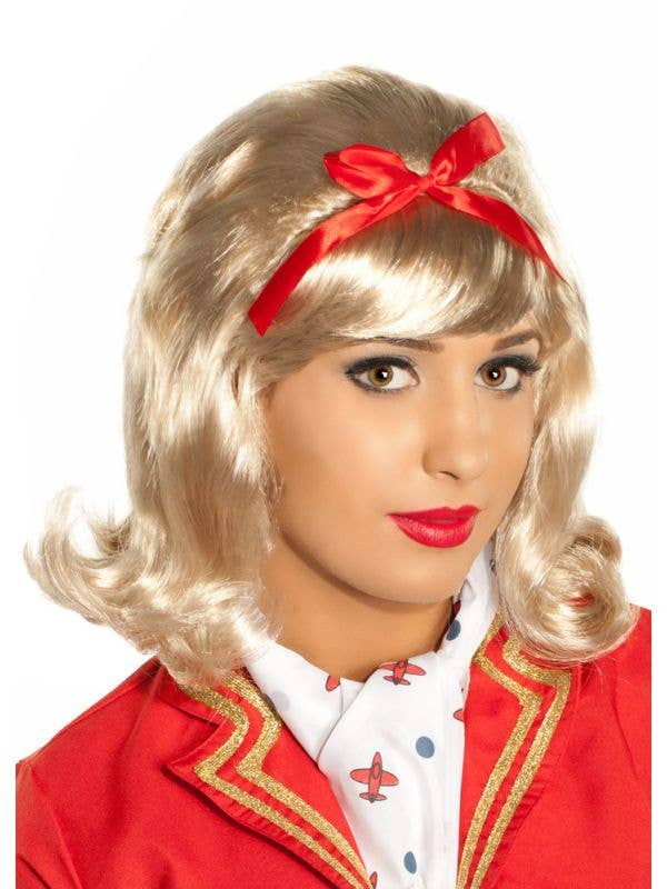 Womens 50s Dress Up Blonde Wig Costume Accessory - Main Image