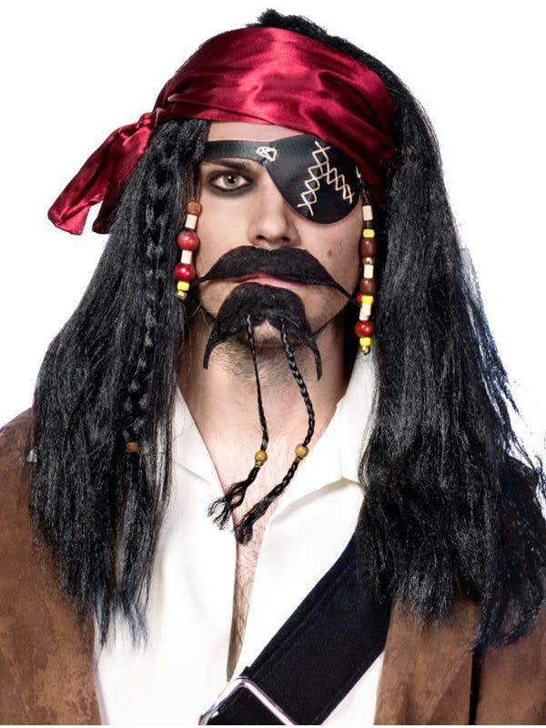 Men's Deluxe Black Pirate Beaded, Plaited Wig with Head Scarf - Main View