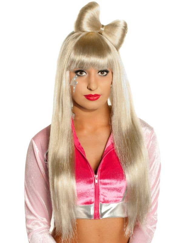 Long Blonde Costume Wig with Bow - Main Image