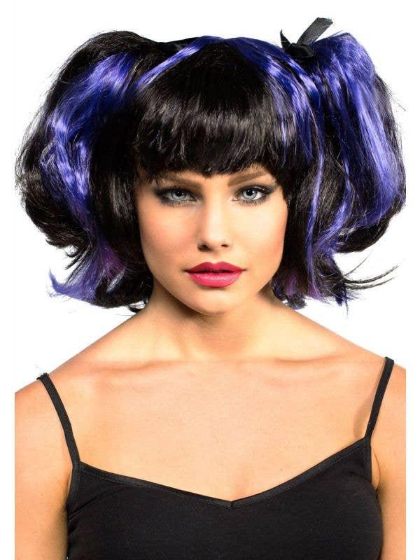 Black And Purple Vampire Bad Fairy Halloween Costume Wig Main Image
