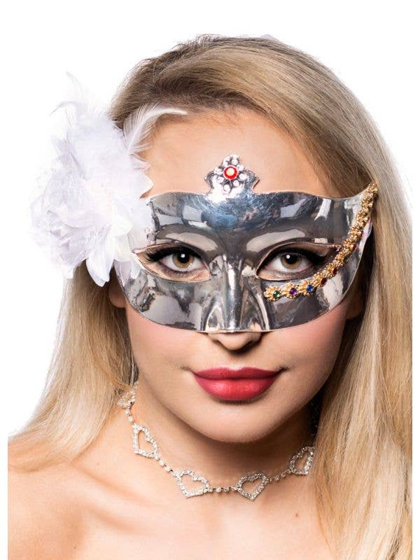 Mirror Finish Silver Masquerade Mask with White Flower and Feathers - Front View