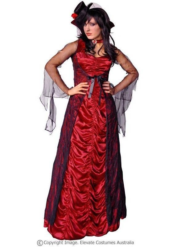 Women's Red and Black Vampire Halloween Costume Front Image