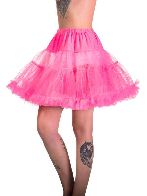 Women's Plus Size Fluffy Hot Pink Thigh Length Costume Petticoat