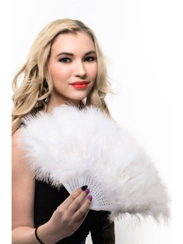 Hand Held Fluffy White Feather Fan Costume Accessory1