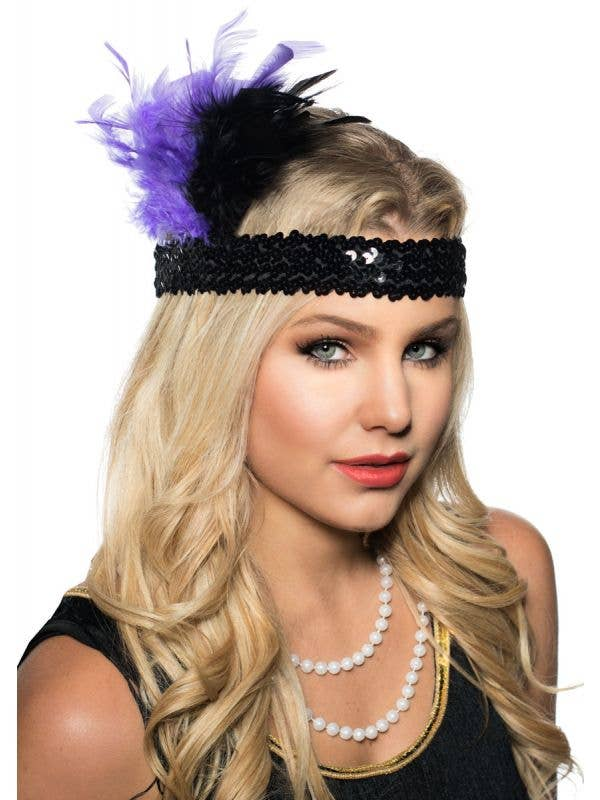 Black and Purple Sequined Feather Flapper Costume Headband Main View