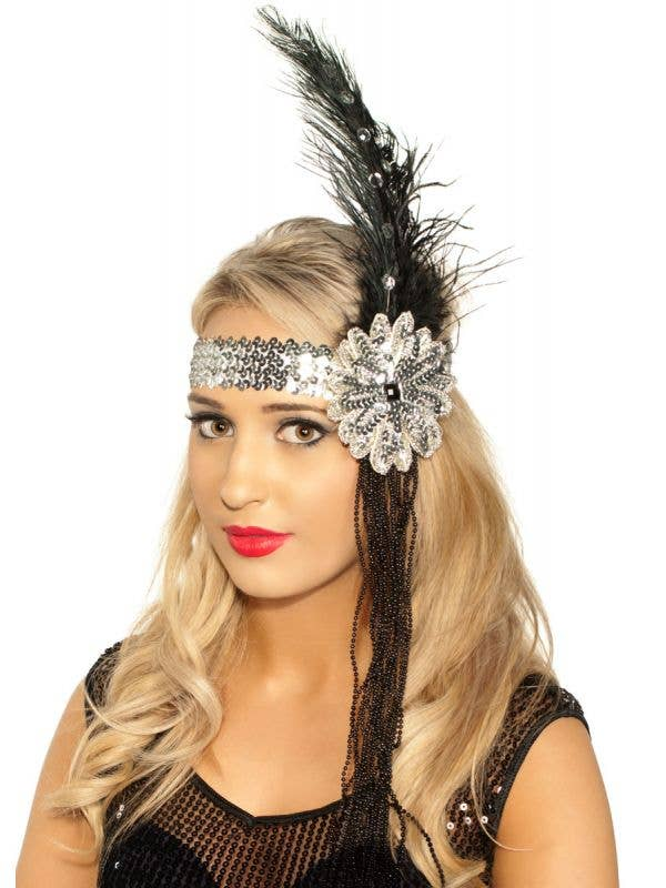 Deluxe Beaded Black and Silver Feather Flapper Headband - Main Image