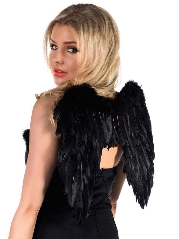 Black Feather Mini Devil Wings Back