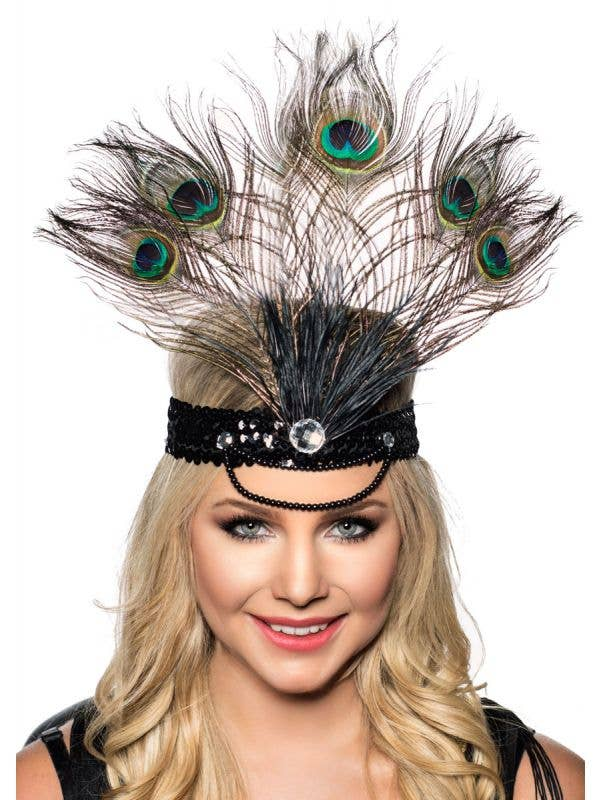 Tall Peacock Feather Showgirl Headband Main Image