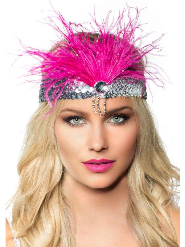 Hot Pink and Silver Feather Gatsby 1920's Headband - Main Image