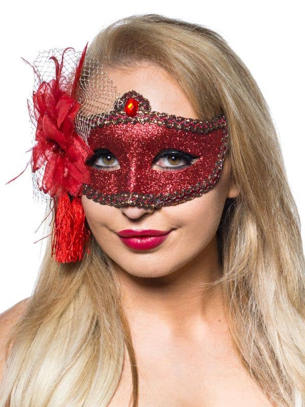 Celebration Glitter Masquerade Mask Red Genuine Elevate Costumes - Image 1