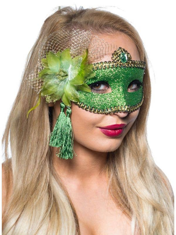 Celebration Glitter Masquerade Mask Green Genuine Elevate Costumes - Image 1