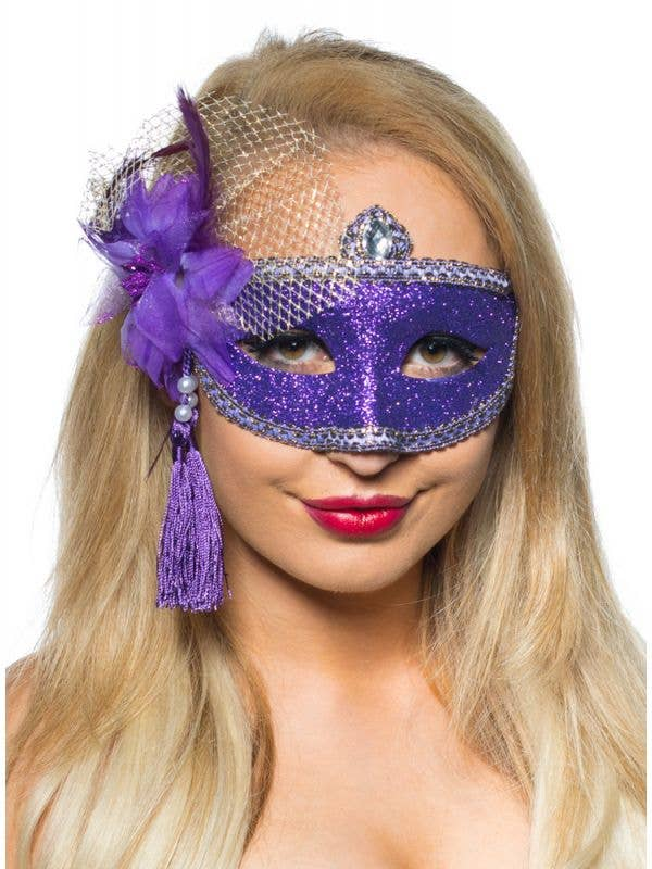 Celebration Glitter Masquerade Mask - Purple - Image 1