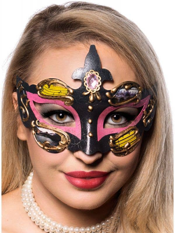 Unisex Pink and Black Crackle Paint Baroque Style Masquerade Mask Front On