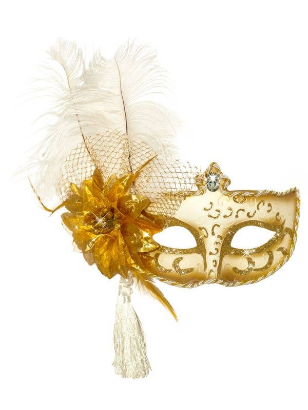 Antoinette Feather Masquerade Mask, White and Gold