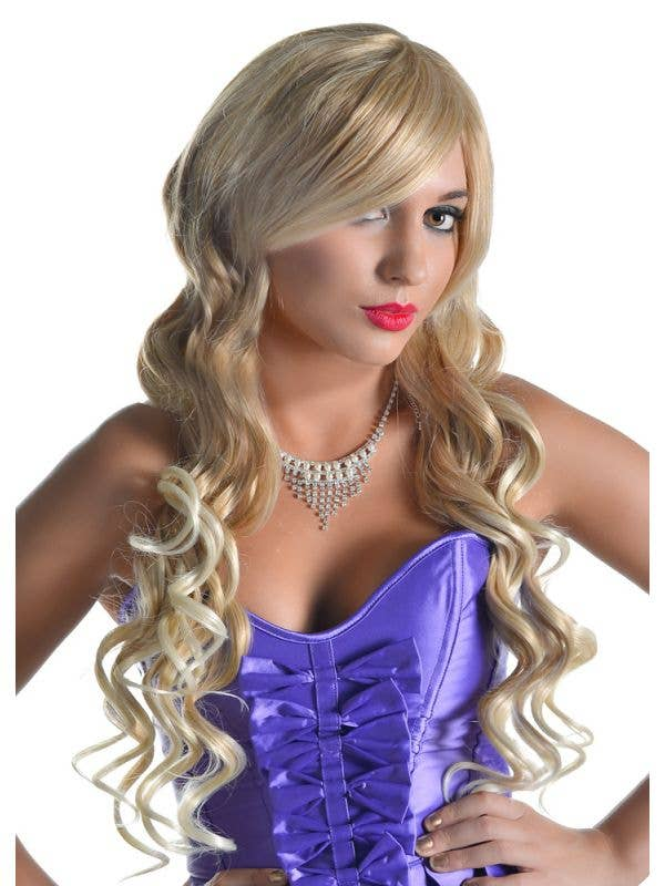 Long Blonde Curly Wig Deluxe Bella Women S Blonde