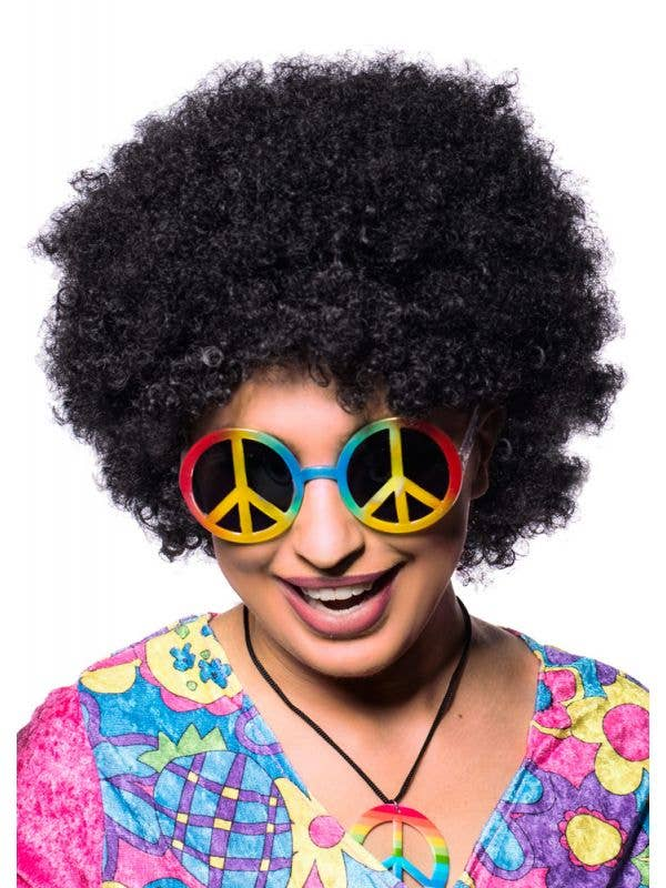 Women's 1970's Black Afro Costume Wig