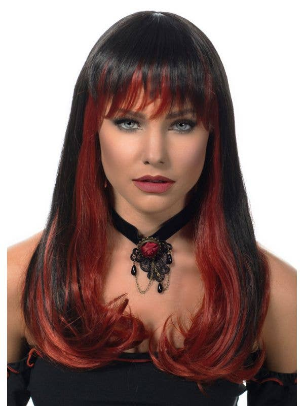 Womens Black and Red Halloween Vampire Costume Accessory Wig - Main Image