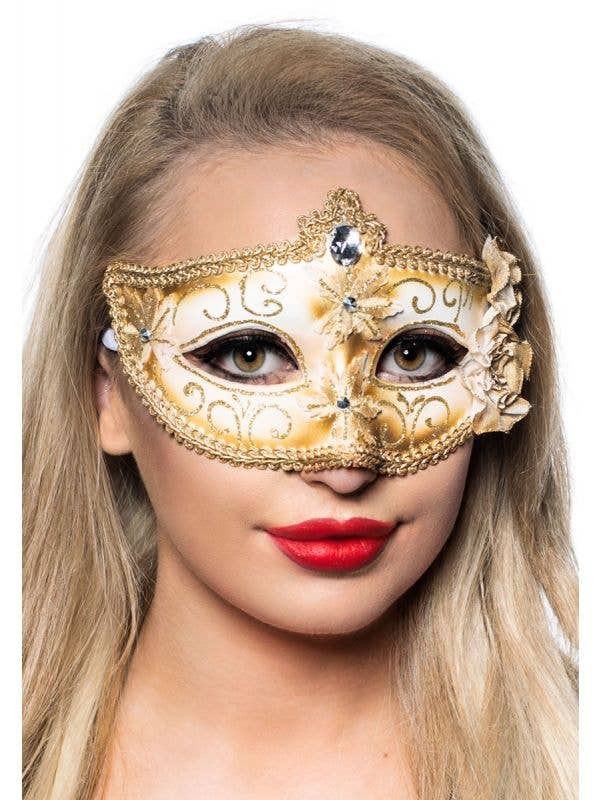 Women's Edwardian Masquerade Mask in Cream and Gold View 1