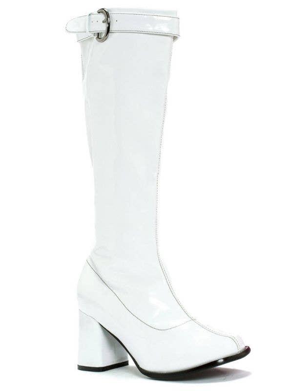 "Women's White Vinyl Hippie Knee High Boots With 3"" Platform Heel Main Image"