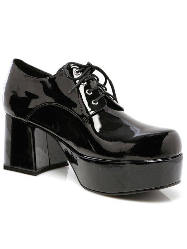 Men's Deluxe Black Patent Shiny Platform Disco Shoes
