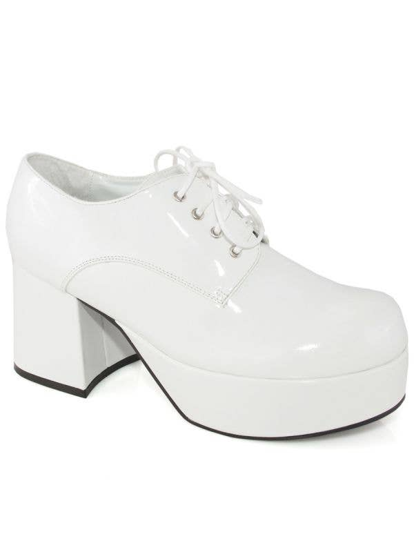 Men's White Patent 70's Platform Disco Costume Shoes Main Image