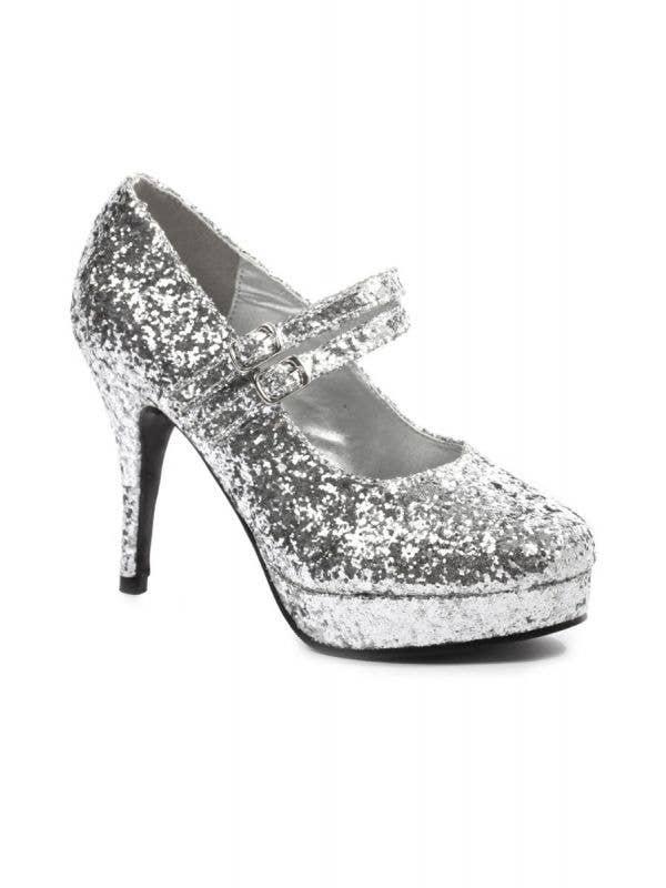 "Women's Silver Glitter 4"" Double Strap Disco Retro High Heel Costume Shoes Main Image"