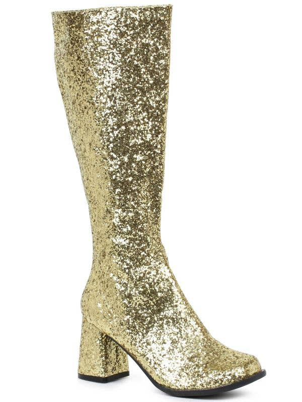 Women's Gold Glitter Deluxe 1960's Go Go Costume Boots