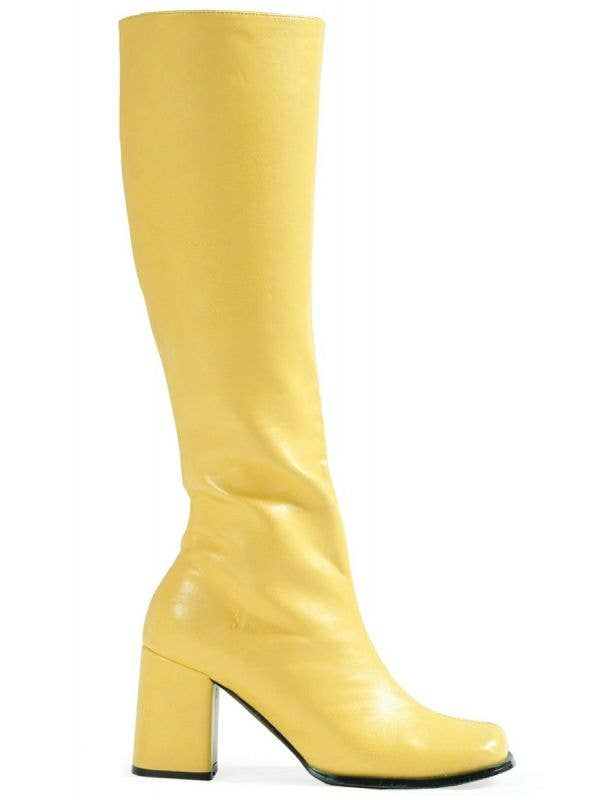 f7ecd90e7593 Women's Yellow Go Go Boots In Vinyl Retro Hippie Costume Shoes With 3