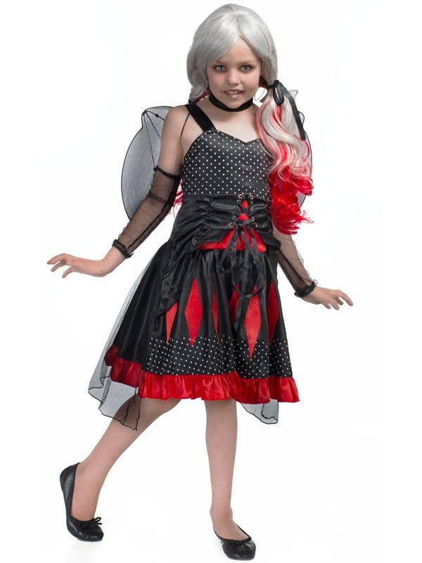 girls gothic bat fairy costume front view