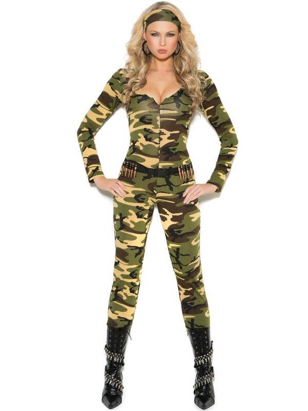 Sexy Women's Army Jumpsuit Fancy Dress Costume Front View