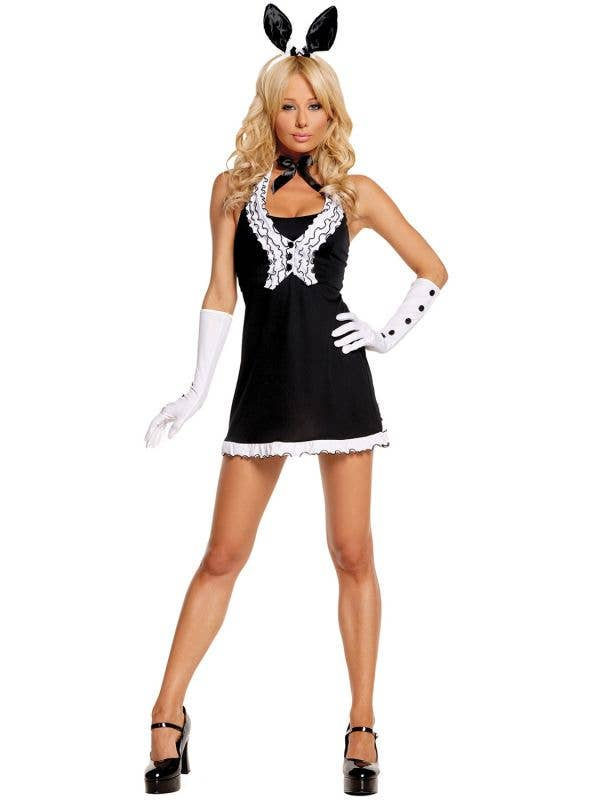 Women's Sexy Black Tie Bunny Fancy Dress Costume Front