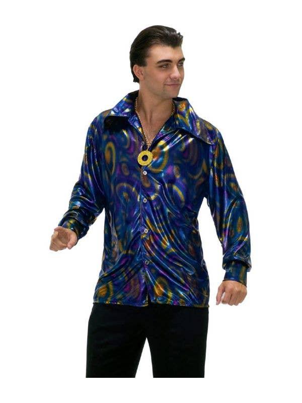 70's Disco Men's Plus Size Metallic Costume Shirt Front View