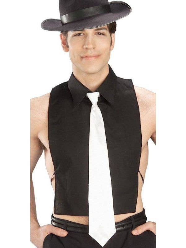 Gangster Men's Black Shirt Front With White Tie Main Image